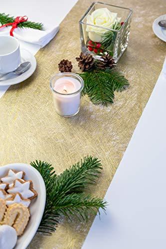 100% Mosel Tischläufer Metallic, in Gold (30 cm x 10 m), Tischband aus Polyester Vliesstoff, edle Tischdeko für Weihnachten & Hochzeiten, festliche Dekoration zu besonderen Anlässen - 2