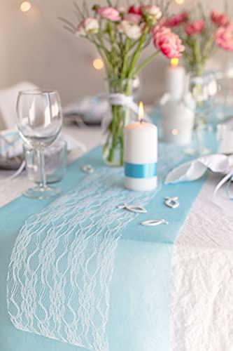 100% Mosel Tischläufer Spitze, in Reinweiß (15 cm x 20 m), zartes Tischband aus Spitze, edle Tischdeko für Hochzeit & Taufe, festliche Dekoration zu besonderen Anlässen - 3