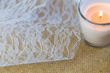 100% Mosel Tischläufer Spitze, in Reinweiß (15 cm x 20 m), zartes Tischband aus Spitze, edle Tischdeko für Hochzeit & Taufe, festliche Dekoration zu besonderen Anlässen - 4