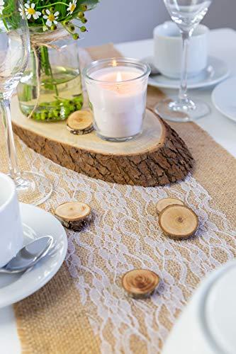 100% Mosel Tischläufer Spitze, in Reinweiß (15 cm x 20 m), zartes Tischband aus Spitze, edle Tischdeko für Hochzeit & Taufe, festliche Dekoration zu besonderen Anlässen - 5