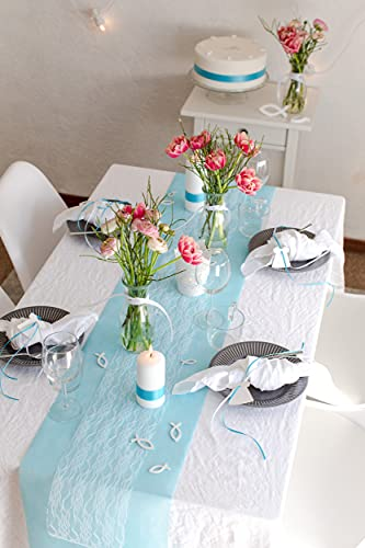 100% Mosel Tischläufer Spitze, in Reinweiß (15 cm x 20 m), zartes Tischband aus Spitze, edle Tischdeko für Hochzeit & Taufe, festliche Dekoration zu besonderen Anlässen - 7