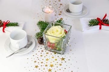 100% Mosel Tischläufer Sterne, in Gold (28 cm x 5 m), Tischband aus Organza, edle Tischdeko für Weihnachten & Adventszeit, festliche Dekoration zu besonderen Anlässen - 3