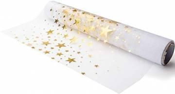 100% Mosel Tischläufer Sterne, in Gold (28 cm x 5 m), Tischband aus Organza, edle Tischdeko für Weihnachten & Adventszeit, festliche Dekoration zu besonderen Anlässen - 1