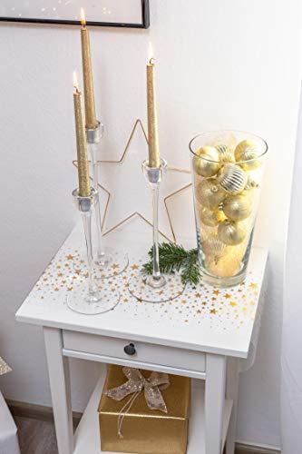 100% Mosel Tischläufer Sterne, in Gold (28 cm x 5 m), Tischband aus Organza, edle Tischdeko für Weihnachten & Adventszeit, festliche Dekoration zu besonderen Anlässen - 5