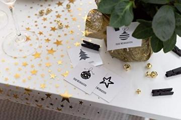 100% Mosel Tischläufer Sterne, in Gold (28 cm x 5 m), Tischband aus Organza, edle Tischdeko für Weihnachten & Adventszeit, festliche Dekoration zu besonderen Anlässen - 6