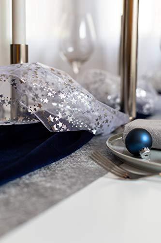 100%Mosel Tischläufer Sterne, in Silber/Metallic (28 cm x 5 m), Tischband aus Organza, edle Tischdeko für Weihnachten & Adventszeit, Festliche Dekoration zu besonderen Anlässen - 5