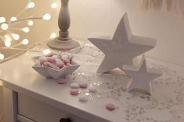 100%Mosel Tischläufer Sterne, in Silber/Metallic (28 cm x 5 m), Tischband aus Organza, edle Tischdeko für Weihnachten & Adventszeit, Festliche Dekoration zu besonderen Anlässen - 7