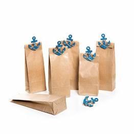 12 Stück kleine braune Papiertüten 7 x 4 x 20,5 cm + 12 blaue maritime Schiffs-ANKER Zierklammern Deko-Klammern mit 5,5 x 4,5 cm Geschenktüten Geburtstagstüten Tütchen für give-aways - 1