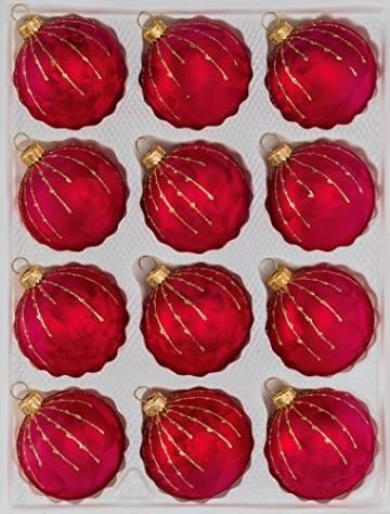 12 TLG. Glas-Weihnachtskugeln Set in Ice Rot Gold Regen- Christbaumkugeln - Weihnachtsschmuck-Christbaumschmuck - 1