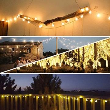 [120 LED] Lichterkette Kugel, 12M 8 Modi und Merk Funktion,lichterketten außen/innen mit Stecker, ideale party deko, kinderzimmer, balkon,weihnachtsbeleuchtung usw. (Warmweiß) - 3