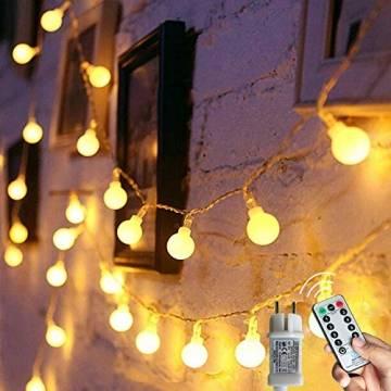 [120 LED] Lichterkette Kugel, 12M 8 Modi und Merk Funktion,lichterketten außen/innen mit Stecker, ideale party deko, kinderzimmer, balkon,weihnachtsbeleuchtung usw. (Warmweiß) - 1