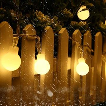 [120 LED] Lichterkette Kugel, 12M 8 Modi und Merk Funktion,lichterketten außen/innen mit Stecker, ideale party deko, kinderzimmer, balkon,weihnachtsbeleuchtung usw. (Warmweiß) - 5