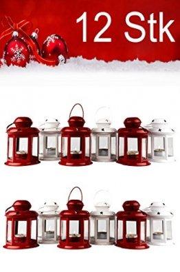 12er Set Windlicht Laterne Weihnachten Kleine Laternen Für Draußen Metall Glas Windlichter Weihnachtsdeko Beleuchtung Dekoration - 1