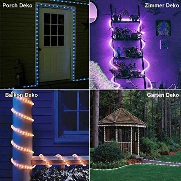 12m Bunt LED Lichtschlauch Außen,IP68 LED Wasserdicht Bunt Lichterschlauch,120er LED Lichterkette Innen Strombetrieben mit Fernbedienung&Timer,16 Farben 132 Modi LED Schlauch für Balkon Hochzeit Party - 3