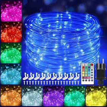 12m Bunt LED Lichtschlauch Außen,IP68 LED Wasserdicht Bunt Lichterschlauch,120er LED Lichterkette Innen Strombetrieben mit Fernbedienung&Timer,16 Farben 132 Modi LED Schlauch für Balkon Hochzeit Party - 1