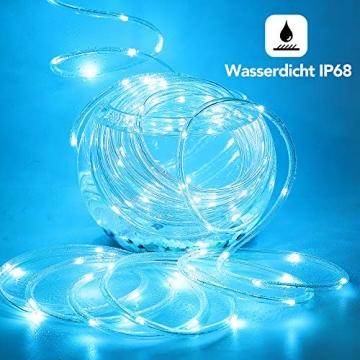 12m Bunt LED Lichtschlauch Außen,IP68 LED Wasserdicht Bunt Lichterschlauch,120er LED Lichterkette Innen Strombetrieben mit Fernbedienung&Timer,16 Farben 132 Modi LED Schlauch für Balkon Hochzeit Party - 5