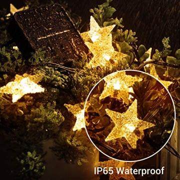 18M Solar Lichterkette Außen, OxyLED 110 LED Lichterkette Sterne Solar Lichterkette Aussen Weihnachtsbeleuchtung Außen Dekoration für Garten, Terrasse, Haus, Party, Hochzeit, Festival (Warmweiß) - 3