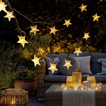 18M Solar Lichterkette Außen, OxyLED 110 LED Lichterkette Sterne Solar Lichterkette Aussen Weihnachtsbeleuchtung Außen Dekoration für Garten, Terrasse, Haus, Party, Hochzeit, Festival (Warmweiß) - 4