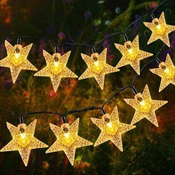 18M Solar Lichterkette Außen, OxyLED 110 LED Lichterkette Sterne Solar Lichterkette Aussen Weihnachtsbeleuchtung Außen Dekoration für Garten, Terrasse, Haus, Party, Hochzeit, Festival (Warmweiß) - 1