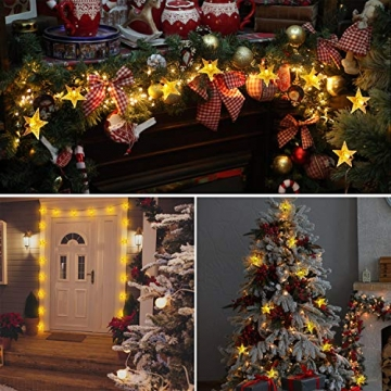 18M Solar Lichterkette Außen, OxyLED 110 LED Lichterkette Sterne Solar Lichterkette Aussen Weihnachtsbeleuchtung Außen Dekoration für Garten, Terrasse, Haus, Party, Hochzeit, Festival (Warmweiß) - 5