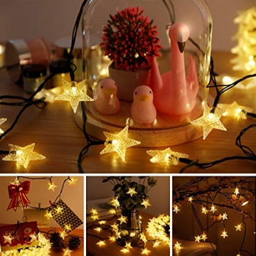 18M Solar Lichterkette Außen, OxyLED 110 LED Lichterkette Sterne Solar Lichterkette Aussen Weihnachtsbeleuchtung Außen Dekoration für Garten, Terrasse, Haus, Party, Hochzeit, Festival (Warmweiß) - 6