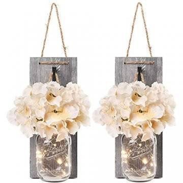 2 Stück Mason Jar LED Lichterketten,Wandleuchten Rustikale Wand Holz-Deko und Künstliche Blumen,Wandkerzenhalter LED Licht für Home Wohnzimmer Dekoration,Schlafzimmer,Glas Weihnachtsdeko (Grau) - 1