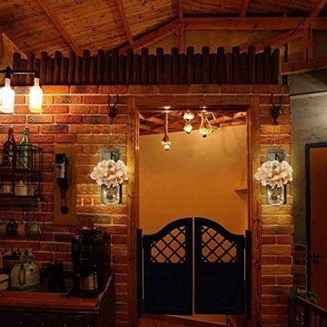 2 Stück Mason Jar LED Lichterketten,Wandleuchten Rustikale Wand Holz-Deko und Künstliche Blumen,Wandkerzenhalter LED Licht für Home Wohnzimmer Dekoration,Schlafzimmer,Glas Weihnachtsdeko (Grau) - 5