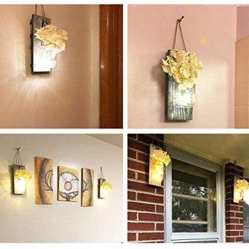 2 Stück Mason Jar LED Lichterketten,Wandleuchten Rustikale Wand Holz-Deko und Künstliche Blumen,Wandkerzenhalter LED Licht für Home Wohnzimmer Dekoration,Schlafzimmer,Glas Weihnachtsdeko (Grau) - 7