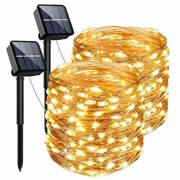 [2 Stück] Solar Lichterkette Aussen, 13.5M 120 LED Lichterkette Aussen, Lichtsteuerung Design 8 Modus Wasserdicht Kupferdraht Weihnachtsbeleuchtung außen DIY für Balkon, Gartendeko, Bäume, Hochzeiten - 1