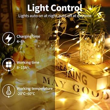 [2 Stück] Solar Lichterkette Aussen, 13.5M 120 LED Lichterkette Aussen, Lichtsteuerung Design 8 Modus Wasserdicht Kupferdraht Weihnachtsbeleuchtung außen DIY für Balkon, Gartendeko, Bäume, Hochzeiten - 6