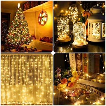 [2 Stück] Solar Lichterkette Aussen, 13.5M 120 LED Lichterkette Aussen, Lichtsteuerung Design 8 Modus Wasserdicht Kupferdraht Weihnachtsbeleuchtung außen DIY für Balkon, Gartendeko, Bäume, Hochzeiten - 9