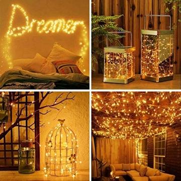 [2 Stück]Solar Lichterkette Außen, 12M 120 LED Lichterketten Aussen, Wasserdicht Kupferdraht Weihnachtsbeleuchtung Lichterkette für Balkon, gartendeko, Bäume, Terrasse, Hochzeiten(Warmweiß) - 2
