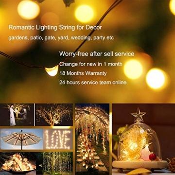 [2 Stück]Solar Lichterkette Außen, 12M 120 LED Lichterketten Aussen, Wasserdicht Kupferdraht Weihnachtsbeleuchtung Lichterkette für Balkon, gartendeko, Bäume, Terrasse, Hochzeiten(Warmweiß) - 3
