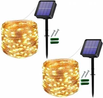[2 Stück]Solar Lichterkette Außen, 12M 120 LED Lichterketten Aussen, Wasserdicht Kupferdraht Weihnachtsbeleuchtung Lichterkette für Balkon, gartendeko, Bäume, Terrasse, Hochzeiten(Warmweiß) - 1