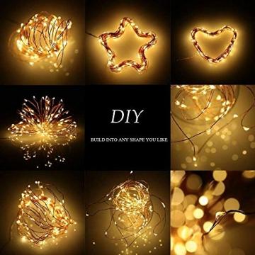 [2 Stück]Solar Lichterkette Außen, 12M 120 LED Lichterketten Aussen, Wasserdicht Kupferdraht Weihnachtsbeleuchtung Lichterkette für Balkon, gartendeko, Bäume, Terrasse, Hochzeiten(Warmweiß) - 5