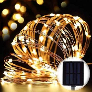 [2 Stück]Solar Lichterkette Außen, 12M 120 LED Lichterketten Aussen, Wasserdicht Kupferdraht Weihnachtsbeleuchtung Lichterkette für Balkon, gartendeko, Bäume, Terrasse, Hochzeiten(Warmweiß) - 6