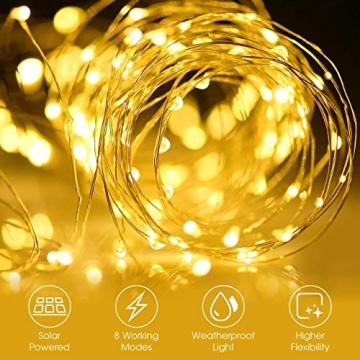 [2 Stück]Solar Lichterkette Außen, 12M 120 LED Lichterketten Aussen, Wasserdicht Kupferdraht Weihnachtsbeleuchtung Lichterkette für Balkon, gartendeko, Bäume, Terrasse, Hochzeiten(Warmweiß) - 7