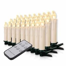 20-60er Weinachten LED Kerzen Weihnachtsbeleuchtung Lichterkette Kerzen kabellos Weihnachtskerzen Weihnachtsbaum Kerzen mit Fernbedienung kabellos Baumkerzen(milchweisse Hülle, 30er) - 1