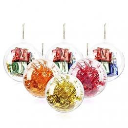 20 Stücke Klar Weihnachtskugeln, 40mm, 60mm, 80mm, 100mm Weihnachtsschmuck Ball, DIY Kunststoff Füllbare Weihnachtsschmuck Baumkugeln Kugeln Handwerk Transparente Kugel - 1