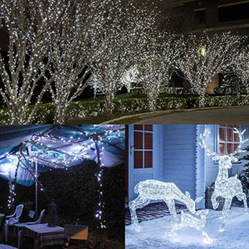 200 LED Lichterkette Außen BrizLabs Kaltweiss Weihnachten Außenbeleuchtung 22M 8 Modi Wasserdicht Weihnachtsbeleuchtung für Outdoor Garten Hochzeit Party Baum Innen Halloween Deko - 5