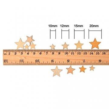 200 Stücke Holzsterne Blank Holz Stern Scheiben Mini Stern Verschönerungen für Hochzeit Handwerk Making DIY, Gemischt 4 Größen - 2