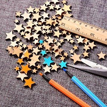 200 Stücke Holzsterne Blank Holz Stern Scheiben Mini Stern Verschönerungen für Hochzeit Handwerk Making DIY, Gemischt 4 Größen - 3