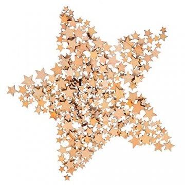 200 Stücke Holzsterne Blank Holz Stern Scheiben Mini Stern Verschönerungen für Hochzeit Handwerk Making DIY, Gemischt 4 Größen - 6