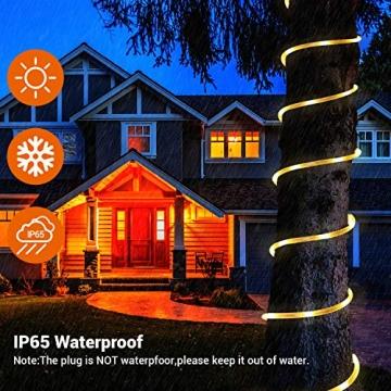 20M Lichterschlauch, OxyLED 300 LED Lichtschlauch IP65 Wasserfest, Lichterkette Strombetrieben mit EU-Stecker für Innen Außen Garten Weihnachten Fest Party Hochzeit Deko(Warmweiß) - 4