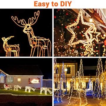20M Lichterschlauch, OxyLED 300 LED Lichtschlauch IP65 Wasserfest, Lichterkette Strombetrieben mit EU-Stecker für Innen Außen Garten Weihnachten Fest Party Hochzeit Deko(Warmweiß) - 6