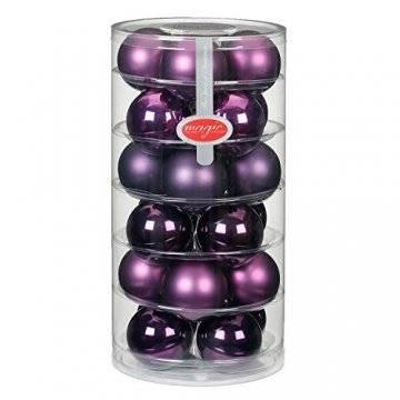 24 Christbaumkugeln Glas 6cm//Weihnachtskugeln Weihnachtsschmuck Weihnachtsdeko Baumkugeln Baumschmuck Christbaumschmuck Kugeln Glaskugeln Dose, Farbe: Purple Deluxe (Violett Lila Purpur Glanz/Matt) - 1