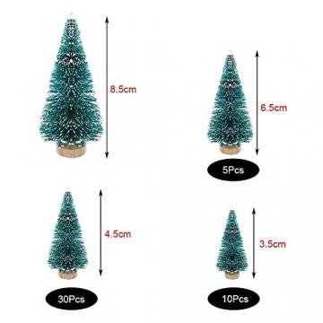 (3.5/4.5/6.5/8.5cm) 50Pcs Mini Weihnachtsbaum Tannenbaum Künstlicher Christbaum Tisch Tannenbaum Klein Miniatur Tanne mit Schnee-Effek Grün Weihnachtsdeko Weihnachten Tischdeko Basteln Schaufenster - 2