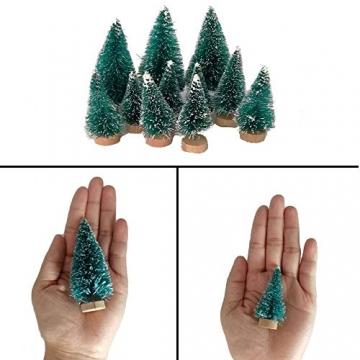 (3.5/4.5/6.5/8.5cm) 50Pcs Mini Weihnachtsbaum Tannenbaum Künstlicher Christbaum Tisch Tannenbaum Klein Miniatur Tanne mit Schnee-Effek Grün Weihnachtsdeko Weihnachten Tischdeko Basteln Schaufenster - 4