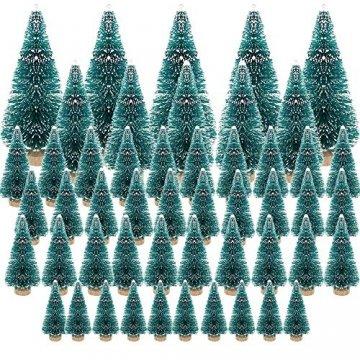 (3.5/4.5/6.5/8.5cm) 50Pcs Mini Weihnachtsbaum Tannenbaum Künstlicher Christbaum Tisch Tannenbaum Klein Miniatur Tanne mit Schnee-Effek Grün Weihnachtsdeko Weihnachten Tischdeko Basteln Schaufenster - 1