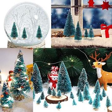 (3.5/4.5/6.5/8.5cm) 50Pcs Mini Weihnachtsbaum Tannenbaum Künstlicher Christbaum Tisch Tannenbaum Klein Miniatur Tanne mit Schnee-Effek Grün Weihnachtsdeko Weihnachten Tischdeko Basteln Schaufenster - 5